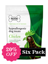Six Pack - 80% Freshly Prepared Chicken Hypoallergenic Dog Treats (6 x 200g packs) - B.one hypoallergenic bites are no ordinary dog treats. We avoid ingredients that are known to cause allergies and itching such as grains, cereals, artificial flavourings and colourings to produce a tasty hypoallergenic treat. Our recipe has been formulated with Europe's leading nutritionists to ensu...