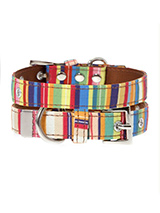 Henley Striped Fabric Collar - Our Henley Striped pattern collar is a rich contemporary style and the striped pattern is right on trend. It is lightweight and incredibly strong. The collar has been finished with chrome detailing including the eyelets and tip of the collar. A matching lead, harness and bandana are available to pur...