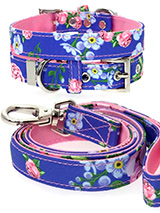 Pink / Blue Floral Burst Fabric Collar & Lead Set - Our Floral Burst pattern collar & lead set is a rich contemporary style and the floral pattern is right on trend. It is lightweight and incredibly strong. The collar has been finished with chrome detailing including the eyelets and tip of the collar. A matching harness and bandana are available to p...