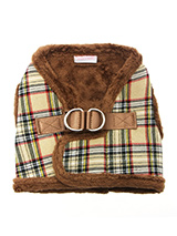 Luxury Fur Lined Brown Tartan Harness - What can we say only that this harness is most definitely the height of luxury. It is based on a traditional Scottish Higland design and it is soft warm and heavy with a double D-ring for extra security. It is lined with faux fur and finished around the neck and arms again with faux fur for a super...