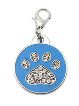 Blue Enamel / Diamante Paw Dog Collar Charm - If you are looking for bling then look no further. Our Blue Enamel / Diamante Paw Dog Collar Charm is encrusted with diamantes set against a beautiful blue enamel background. It attaches to any collar's D-ring with a lobster clip. The perfect accessory to add bling to your dog's collar.