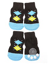 Brown & Blue Argyle Pet Socks - These fun and functional doggie socks protect your dogs paws from mud, snow, ice, hot pavement, hot sand and other extreme weather. Made from 95% cotton & 5% spandex making them comfortable and secure. Each sock features a paw shaped anti-slip silica pad & help keep your house sanitary. (set of 4).