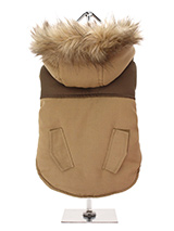 Faux Fur Brown Two Tone Parka - This two toned parka coat is cosy and stylish and bang on trend. It has a faux fur trimmed hood and is fleece lined to keep your dog snug and warm. Perfect for the dog that likes a bit of rough and tumble, a quality, multi-layered piece of clothing that will keep the heat in and the cold out. Our cl...