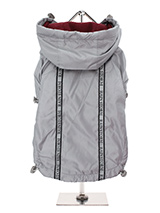 Silver Grey Rainstorm Rain Coat - Our new Grey Rainstorm Rain coat will protect your dog from the rain and with it's hi-visibility stripe will help them be seen. The adjustable draw string hood will keep the raincoat snug to your dogs face and a drawstring on the hem will allow you to get a nice tight fit to keep the body warm and d...