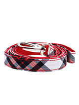 Red & White Plaid Fabric Lead - Here at Urban Pup our design team understands that everyone likes a coordinated look. So we added a Red & White Plaid Tartan Fabric Lead to match our Red & White Plaid Tartan  Harness, Bandana and collar. This lead is lightweight and incredibly strong.