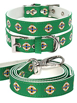 Northern Ireland Football Team Collar & Lead Set - Our Official Northern Ireland Retro Collar and Lead Set are lightweight and incredibly strong. The collar has been finished with chrome detailing including the eyelets and tip of the collar. A matching harness is available to purchase separately. You can be sure that this stylish collar and lead wil...