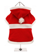 Santa's Christmas Coat - This super soft red velour Christmas coat is lined with white fleece that extends out around the hood and hem to give that authentic Santa look and feel, so seasonal and practical! The coat features a white felt belt and pom-pom on the hood. Make it a merry Christmas for all the family including you...