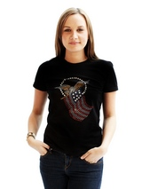 American Spirit GlamourGlitz Women's T-Shirt - Exclusive GlamourGlitz ''Mommy and Me'' Women's T-Shirt.  Designed with the American Eagle swooping down and clutching the Stars and Stripes, symbolizing the Spirit of America. Crafted with Red, Silver and Blue Rhinestuds that catch a sparkle in the light. Whether you wear this to match up with your...