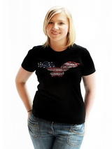 American Eagle GlamourGlitz Women's T-Shirt - Exclusive GlamourGlitz ''Mommy and Me'' Women's T-Shirt.  Designed with a soaring American Eagle, the National Emblem, crafted with Red, Silver and Blue Rhinestuds that catch a sparkle in the light. Whether you wear this to match up with your pet or just on it's own, you can be sure you are wearing...