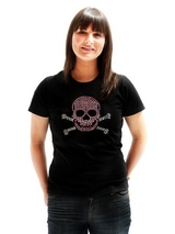 Skull & Crossbones GlamourGlitz Women's T-Shirt - Exclusive GlamourGlitz ''Mommy and Me'' Women's T-Shirt.  Embellished with a Skull and Crossbones design and crafted with Pink and Silver Rhinestuds that catch a sparkle in the light. Whether you wear this to match up with your pet or just on it's own, you can be sure you are wearing a unique design...