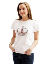 Princess Crown GlamourGlitz Women's T-Shirt - Exclusive GlamourGlitz ''<b>Mommy & Me</b>'' Women's T-Shirt. <br /><br /> Fit for a princess, the Crown Design is a real style indicator and a must have look. Crafted with Red, Silver and Blue Rhinestuds that catch a sparkle in the light. Whether you wear this to match up with your pet or just on i...