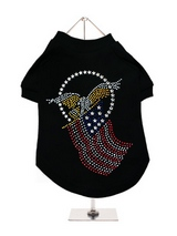 American Spirit GlamourGlitz Dog T-Shirt - Exclusive GlamourGlitz 100% Cotton Dog T-Shirt. Embellished with the American Eagle swooping down and clutching the Stars & Stripes, symbolizing the Spirit of America. Crafted with Red, Silver and Blue Rhinestuds that catch a sparkle in the light. Wear on it's own or match with a GlamourGlitz ''<b>M...