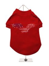 American Eagle GlamourGlitz Dog T-Shirt - Exclusive GlamourGlitz 100% Cotton Dog T-Shirt. Embellished with a soaring American Eagle, the National Emblem and crafted with Red, Silver and Blue Rhinestuds that catch a sparkle in the light. Wear on it's own or match with a GlamourGlitz ''<b>Mommy & Me</b>'' Women's T-Shirt to complete the look.