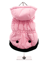 Pink Quilted Coat with Hood - This hooded coat is perfect for those colder days. Practical and fashionable in girly pink trimmed with a black elasticated ribbed hem for a nice neat fit with two black buttons on the outside faux pockets. The soft fleece lining will certainly keep your pup snug and warm. A Velcro fastening on the...