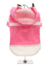 Candy Pink Raincoat - Let it rain, let it rain, let it rain, but no need to worry with this <br />little coat for protection. The adjustable draw string hood will keep <br />the raincoat snug to your pup's face, while the soft lining will keep <br />your dog comfortable and warm. The velcro fastenings make it easy to put...