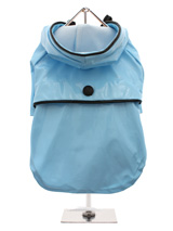 Duck Egg Blue Raincoat - Protect your pup from the rain with this waterproof raincoat. The adjustable draw string hood will keep the raincoat snug to your pup's face, while the soft lining will keep your dog comfortable. The velcro fastenings make it easy to put on and take off your dog. This duck egg blue raincoat is trimm...