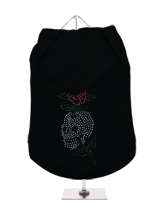 GlamourGlitz Skull & Rose Dog Hoodie - Exclusive GlamourGlitz 100% Cotton Hoodie. With a tattoo design attributing to 80's Glam Rock and crafted with Silver, Green and Red Rhinestuds that catch a sparkle in the light. Wear on it's own or match with a GlamourGlitz ''Mommy and Me'' Women's T-Shirt to complete the look.