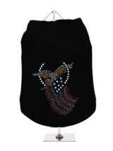 GlamourGlitz American Spirit Dog Hoodie - Exclusive GlamourGlitz 100% Cotton Hoodie. Embellished with the American Eagle swooping down and clutching the Stars & Stripes, symbolizing the Spirit of America. Crafted with Red, Silver and Blue Rhinestuds that catch a sparkle in the light. Wear on it's own or match with a GlamourGlitz ''<b>Mommy...