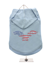 GlamourGlitz American Eagle Dog Hoodie - Exclusive GlamourGlitz 100% Cotton Hoodie. Embellished with a soaring American Eagle, the National Emblem and crafted with Red, Silver and Blue Rhinestuds that catch a sparkle in the light. Wear on it's own or match with a GlamourGlitz ''Mommy and Me'' Women's T-Shirt to complete the look.