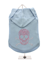 GlamourGlitz Skull & Crossbones Dog Hoodie - Exclusive GlamourGlitz 100% Cotton Hoodie. Embellished with a Skull & Crossbones design and crafted with Pink & Silver Rhinestuds that catch a sparkle in the light. Wear on it's own or match with a GlamourGlitz ''<b>Mommy & Me</b>'' Women's T-Shirt to complete the look.