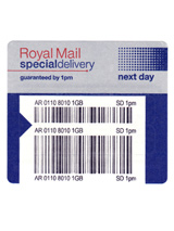 Special Delivery™ Royal Mail - Take advantage of Royal Special Delivery™ for next working day delivery of urgent items (when order is placed before 1pm) to 99% of the UK.