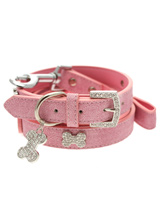 Pink Leather Diamante Collar / Diamante Bone Charm & Lead Set - Sparkling Bling Collar and Lead Set. This textured pink leather collar with a stitched edging has a crystal encrusted buckle with three large / bling sparkling diamante bones and a large sparkling diamante charm complete the look. A glamorous addition to the wardrobe of any trendy pooch. Matching le...