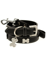 Black Leather Diamante Collar / Diamante Bone Charm & Lead Set - Sparkling Bling Collar and Lead Set. This black leather collar with a stitched edging has a crystal encrusted buckle with three large / bling sparkling diamante bones and a large sparkling diamante charm complete the look. A glamorous addition to the wardrobe of any trendy pooch. Matching lead has s...