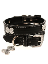Black Leather Diamante Collar & Diamante Bone Charm - Sparkling Bling Collar! This black leather collar with a stitched edging has a crystal encrusted buckle with three large / bling sparkling diamante bones and a large sparkling diamante charm complete the look. A glamorous addition to the wardrobe of any trendy pooch.<ul><li><b>S-M</b> Width: 14mm</l...