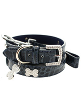 Blue Crocodile Leather Diamante Collar / Diamante Bone Charm & Lead Set - Sparkling Bling Collar & Lead Set. This crocodile textured blue leather collar with a stitched edging has a crystal encrusted buckle with three large / bling sparkling diamante bones and a large sparkling diamante charm complete the look. A glamorous addition to the wardrobe of any trendy pooch. Mat...
