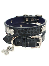 Blue Crocodile Leather Diamante Collar & Diamante Bone Charm - Sparkling Bling Collar! This crocodile textured blue leather collar with a stitched edging has a crystal encrusted buckle with three large / bling sparkling diamante bones and a large sparkling diamante charm complete the look. A glamorous addition to the wardrobe of any trendy pooch.<ul><li><b>S-M<...