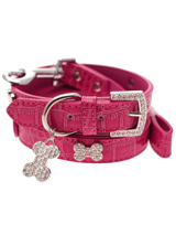 Bruiser's Legally Blonde Pink Leather Diamante Collar / Diamante Bone Charm & Lead Set - The Crocodile Pink Daimante Collar as worn by Bruiser the Chihuahua in Legally Blonde The Musical, currently starring in theatres right around the UK and Ireland.<br /><br />The Bruiser Crocodile Pink Diamante Collar has a crystal encrusted buckle with three sparkling diamante studded silver bones a...