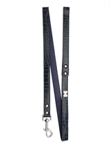 Blue Crocodile Leather Diamante Lead - Sparkling Bling Lead. This crocodile textured blue leather lead has silver clip finished with a large sparkling diamante bone.S-M Width: 14mmM-L Width: 19mmL-XL Width: 25mmLead Length: 1.08m / 48''