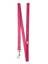 Bruiser's Legally Blonde Pink Leather Diamante Lead - Sparkling Bling Lead. This crocodile textured pink leather lead has silver clip finished with a large sparkling diamante bone.<ul><li><b>S-M</b> Width: 14mm</li><li><b>M-L</b> Width: 19mm</li><li><b>L-XL</b> Width: 25mm</li><li>Lead Length: 1.08m / 48''</li></ul>