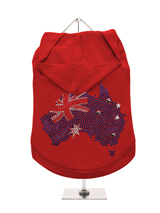 GlamourGlitz Australia Flag Dog Hoodie - Exclusive GlamourGlitz 100% Cotton Hoodie. A full Australian Flag design crafted with Red, Silver and Blue Rhinestuds that catch a sparkle in the light. Wear on it's own or match with a GlamourGlitz ''Mommy and Me'' Women's T-Shirt to complete the look.