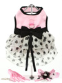 Pink Satin & Hearts Chiffon Harness Dress, Lead & Hat