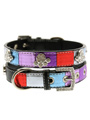 Striped Metallic Diamante Paw Collar