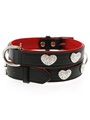 Red / Black Leather Diamante Heart Collar & Lead Set
