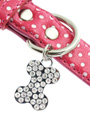 Hot Pink Polka Dot Collar / Diamante Heart Charm & Lead Set