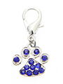 Swarovski Little Paw Dog Collar Charm (Blue Crystals)