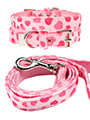Pink Hearts Fabric Collar & Lead Set