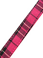 Fuschia Pink Tartan Fabric Collar & Lead Set