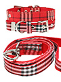 Red Checked Tartan Fabric Collar & Lead Set