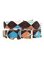Brown & Blue Argyle Collar & Lead Set