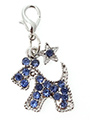 Blue Diamante Scottie Dog Collar Charm