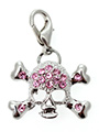 Pink Diamante Skull Dog Collar Charm