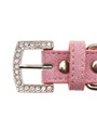 Pink Leather Diamante Collar & Diamante Bone Charm