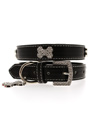 Black Leather Diamante Collar & Diamante Bone Charm