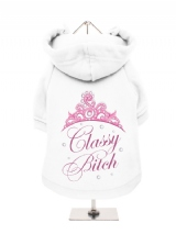 ''Classy Bitch'' Fleece-Lined Dog Hoodie / Sweatshirt
