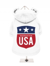 ''Made in the USA #2'' Fleece-Lined Dog Hoodie / Sweatshirt
