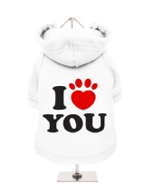 ''I Love You'' Fleece-Lined Dog Hoodie / Sweatshirt